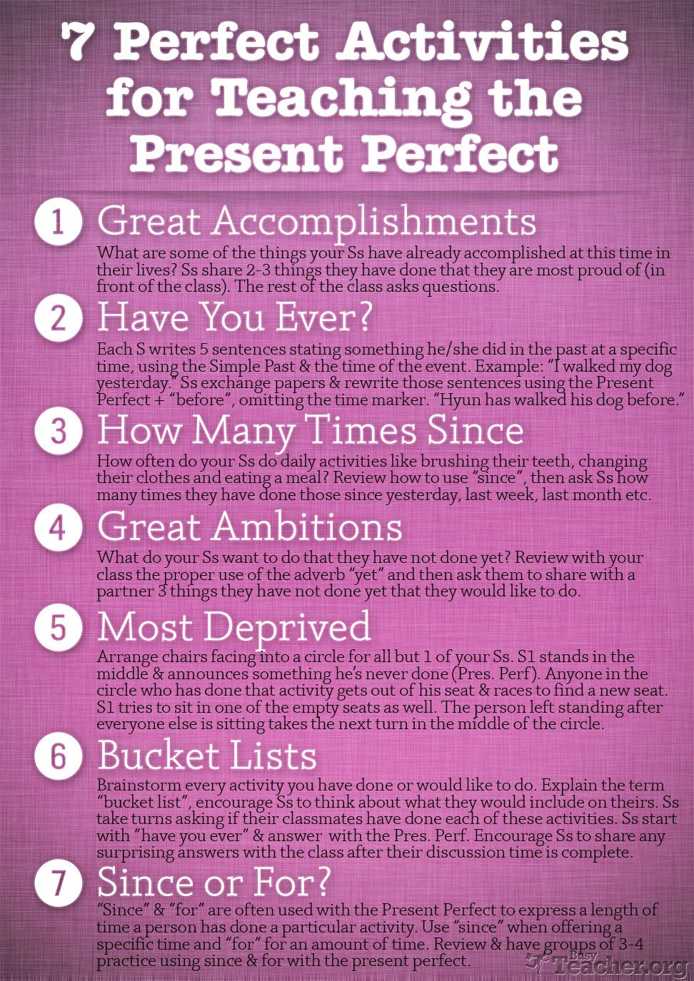 7 Perfect Activities To Teach The Present Perfect Grammar