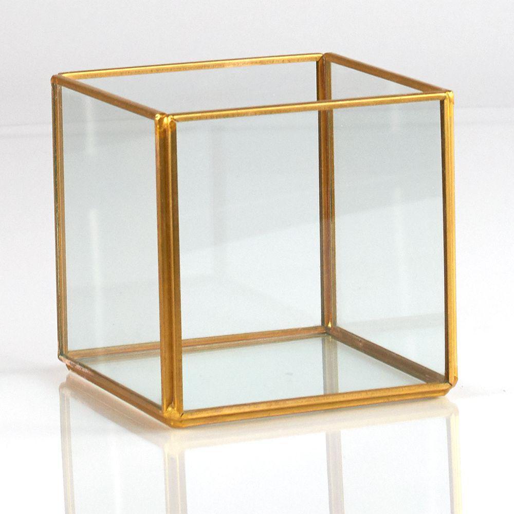 "6.75/ea 4"" METAL/GLASS CUBE,GOLD Glass cube, Glass"