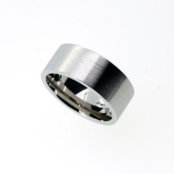 Spectacular mm wide Palladium ring mens wedding band unique wedding ring men modern