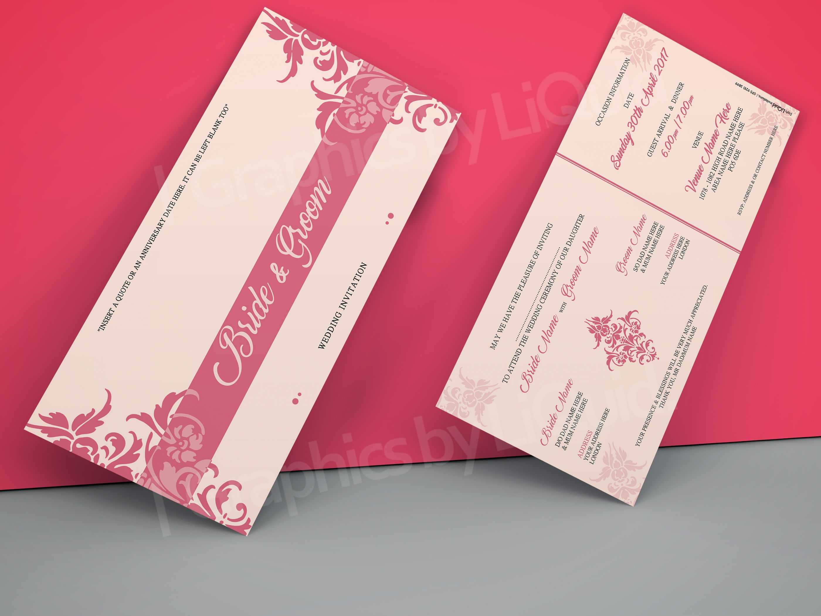 Pink DL Wedding Invitation Card QDL16 | Wedding Invitation Cards ...