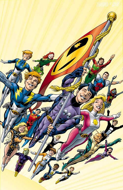 This is the cover for Legion of Super-Heroes #80, drawn by Alan Davis. This is my favourite of his covers from this run, because it has the whole team, but also because it's so joyous and happy.