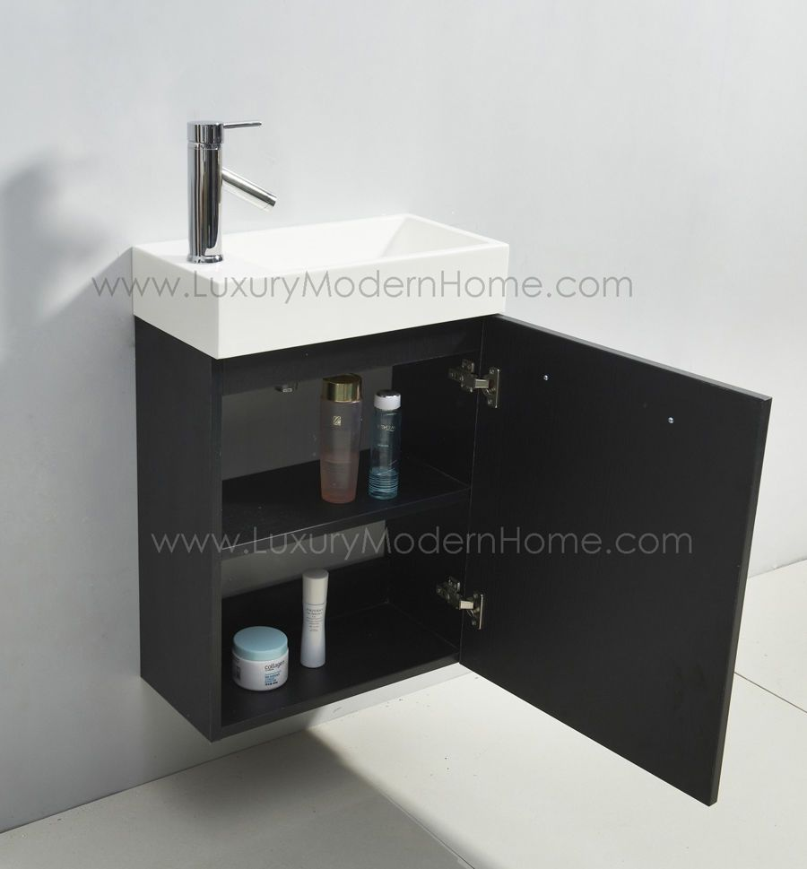 Vanity Sink 20 Small Narrow Black Modern Bathroom Cabinet Wall
