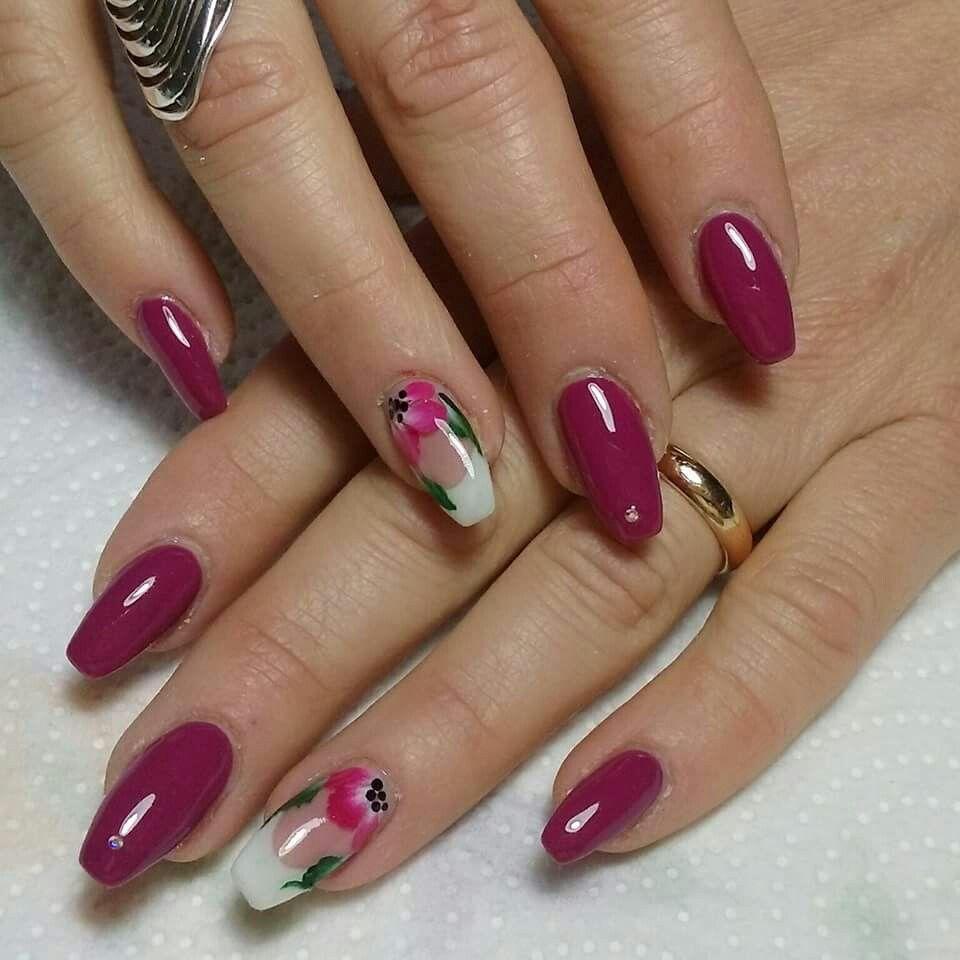viola fucsia french bianco fiori | Unghie rosa shocking ...