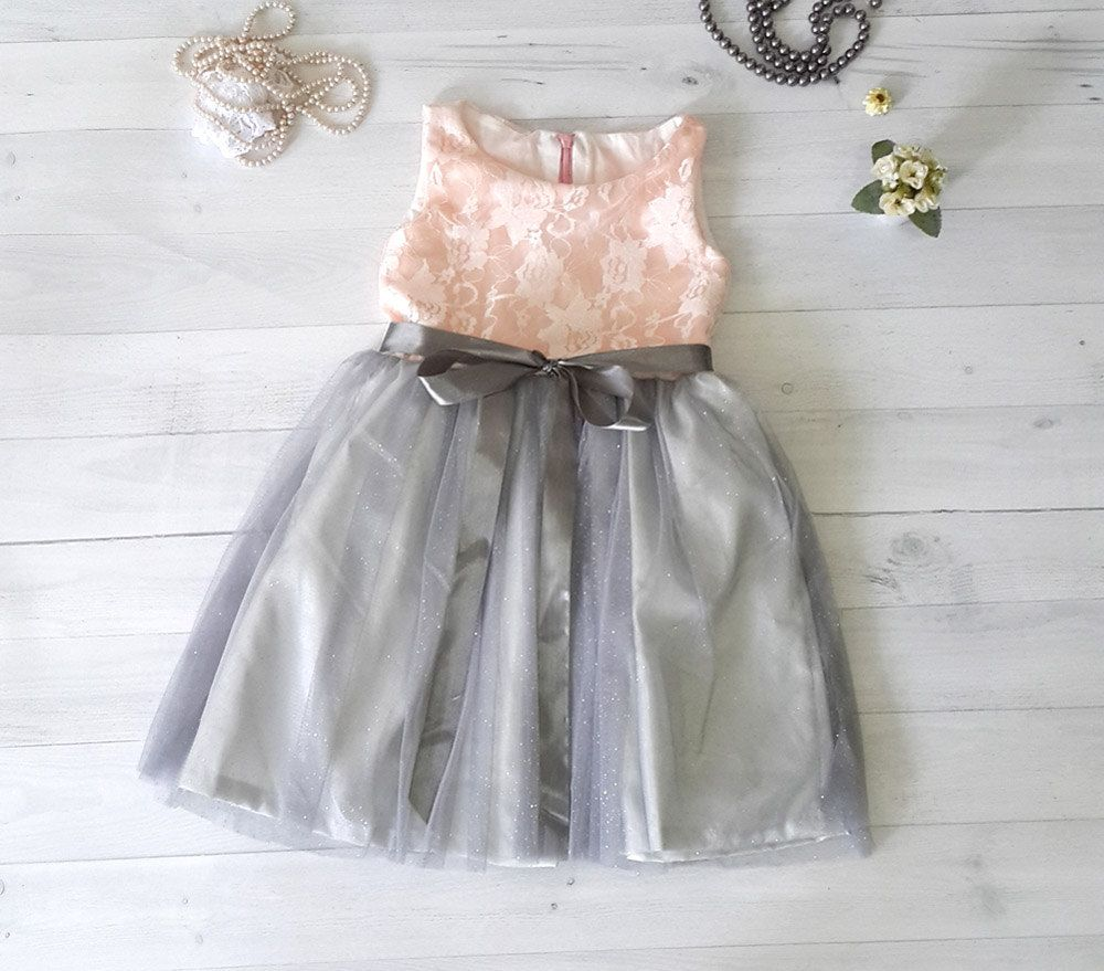 Coral And Grey Flower Girls Dress Satin And Lace Girls Dress