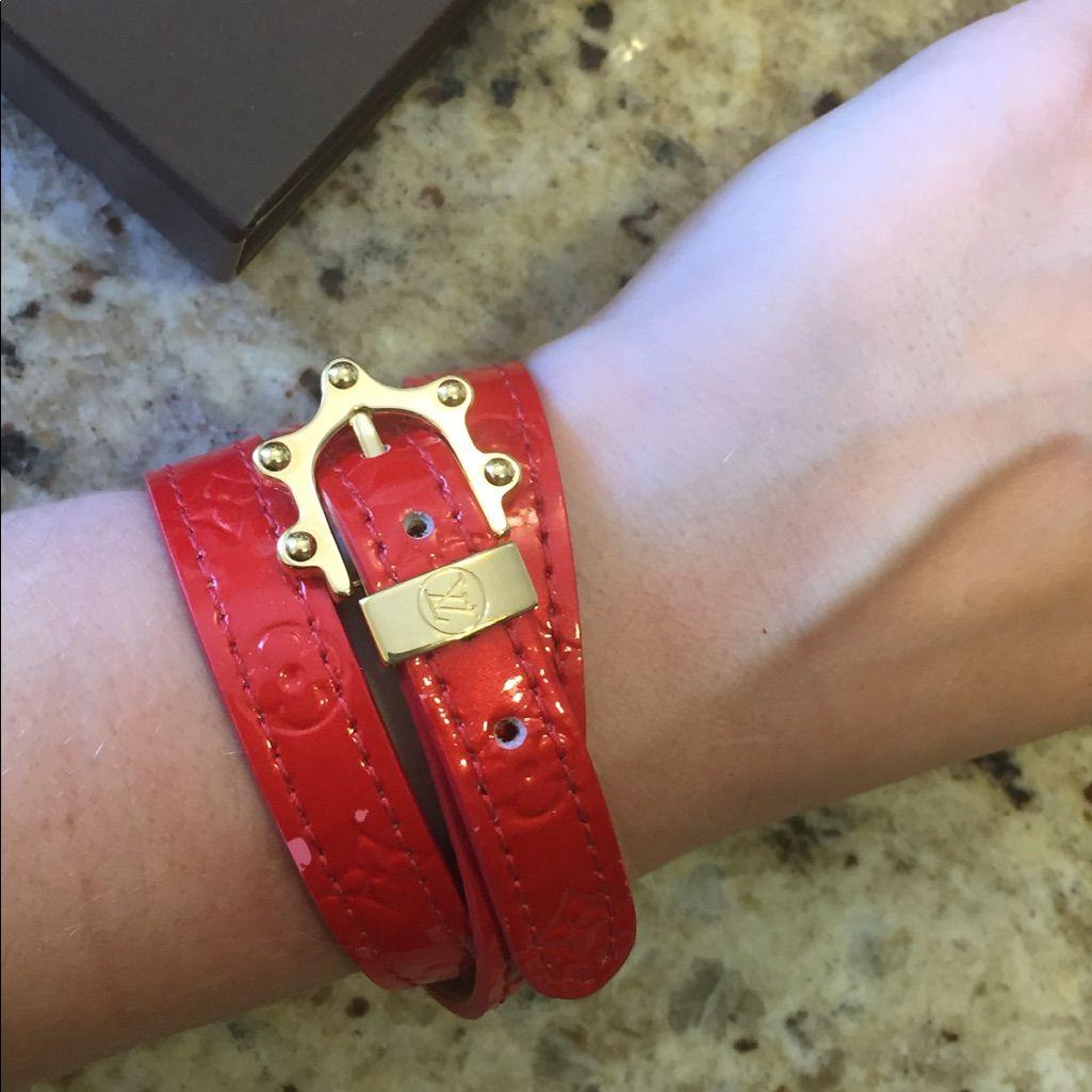 Louis Vuitton Red Vernis Wrap Bracelet Auth Box Products