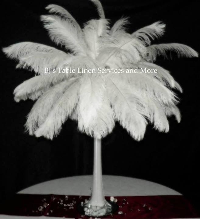 White Feathers With White Eiffel Vase Eiffel Vase Centerpiece