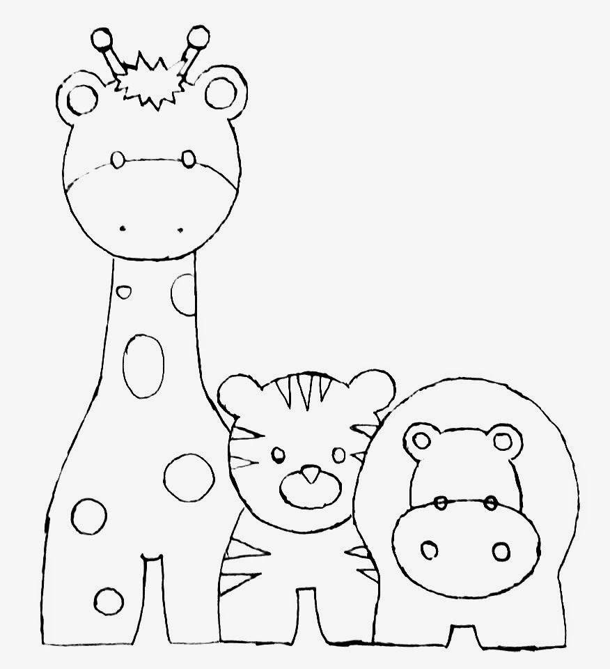 desenho de girafa, tigre e hipopotamo para pintar em fraldas ...