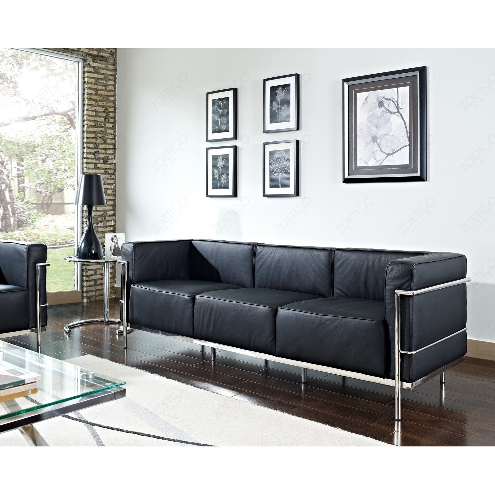 le corbusier leather sofa whole interiors 610 le corbusier sofa set black thesofa. Black Bedroom Furniture Sets. Home Design Ideas