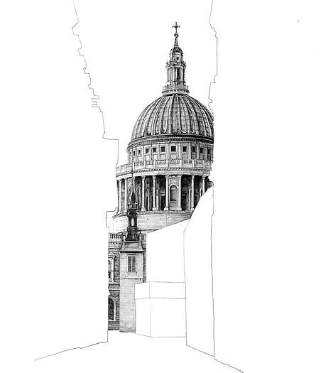 architectural buildings drawings. Artist Minty Sainsbury Draws Meticulously And Monochromatic Famous Architectural Works Hidden By Empty Building Silhouettes. This Technique Gives. Buildings Drawings W