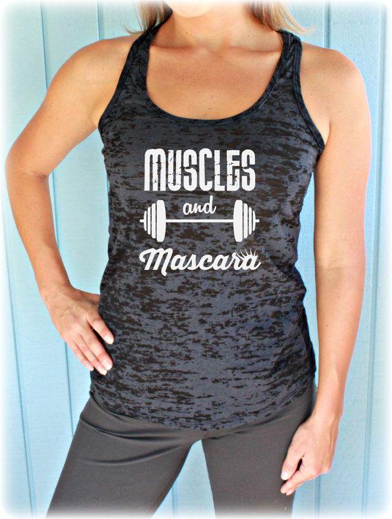966c066762 Muscles and Mascara Fitness Shirt. Workout Burnout Tank Top. Women s  Inspirational Clothing. Motivational Workout Tank Top.