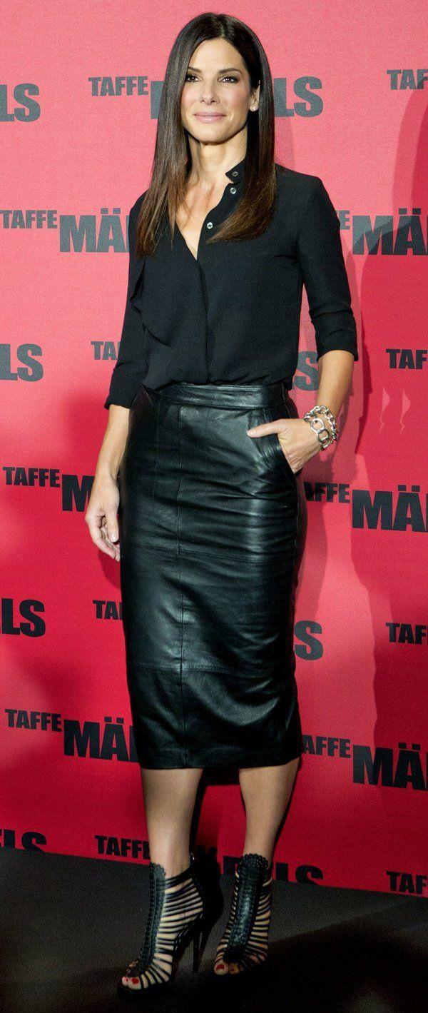 Sandra Bullock wears a billowing Michael Kors blouse, an ASOS pencil skirt and ... - Kombinacije #ASOS pencil skirt #Bullock #a #one