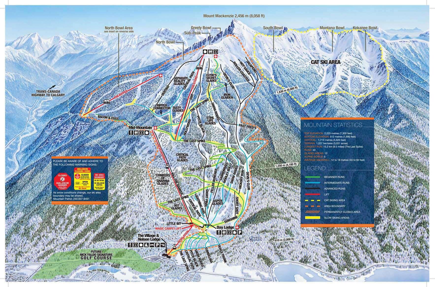 Revelstoke Ski Resort Piste Map Front BC Winter Pinterest