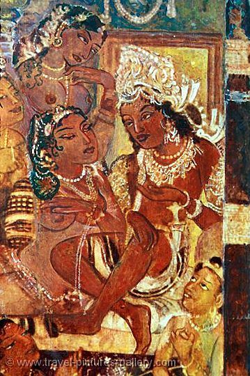 Painting at the ajanta caves places visited pinterest for Ajanta mural painting
