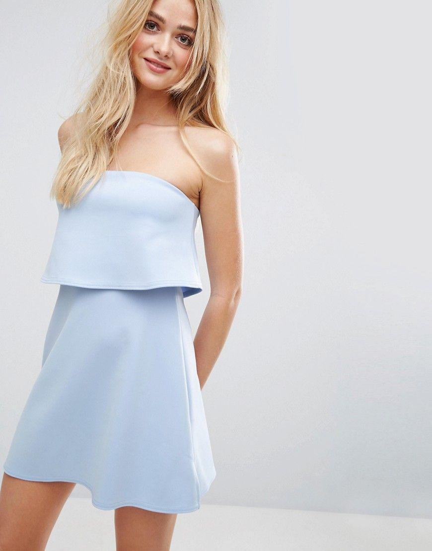 971fe6fc81 ASOS Scuba Bandeau Crop Top Mini Dress - Blue