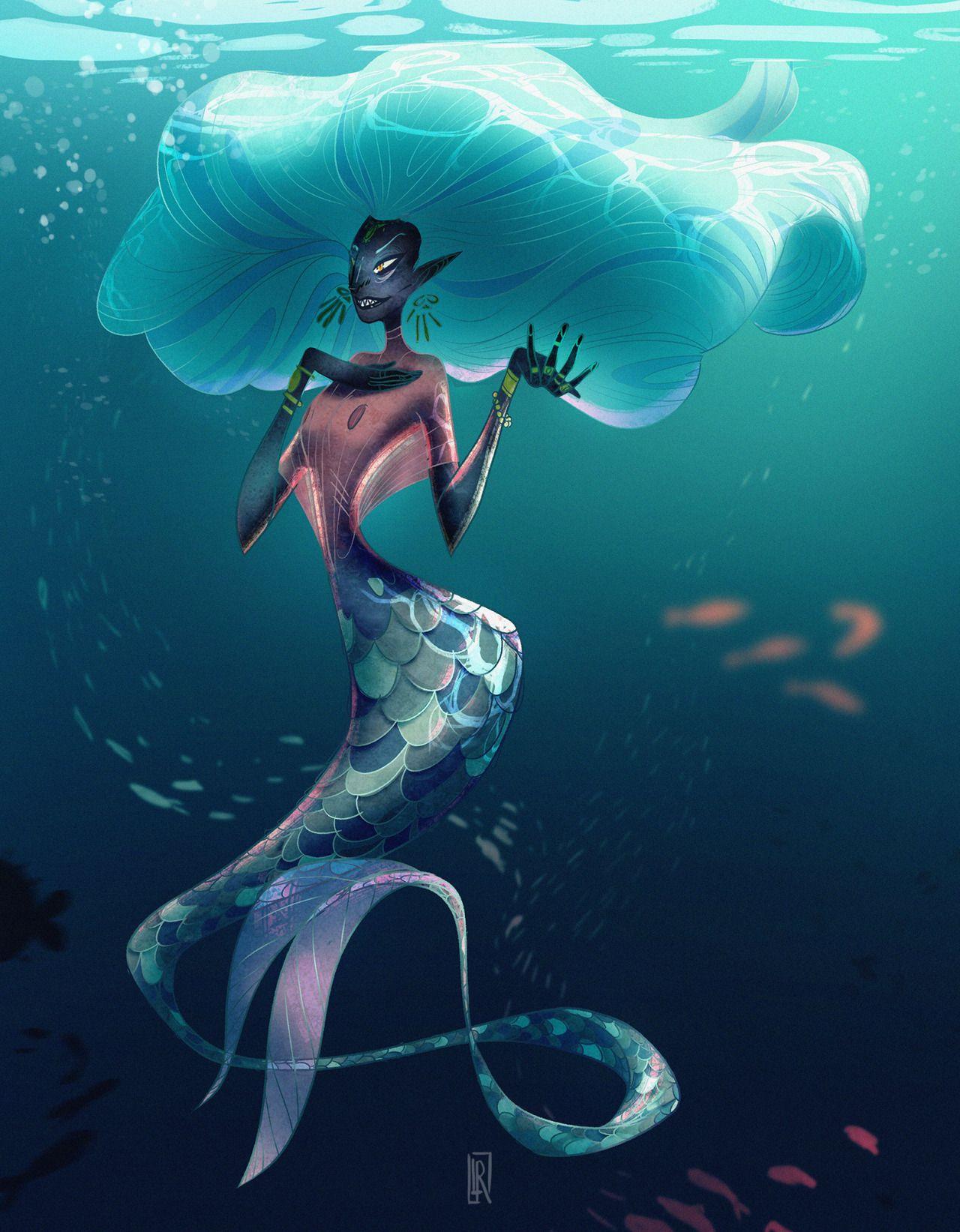 "Character Design Challenge Patreon : Leslierosique ""mermaid character design challenge my"