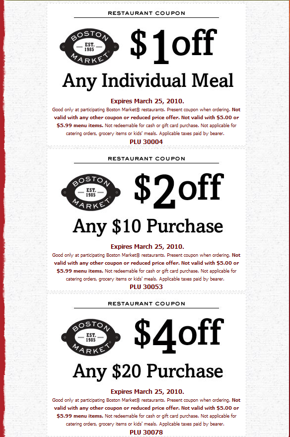 Boston Market Coupons Free printable coupons, Printable