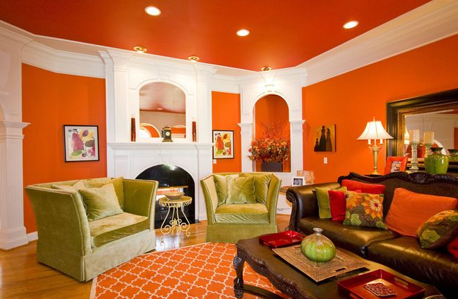 Orange Ceiling Colors For Living Room With Wall And Brown Sofa