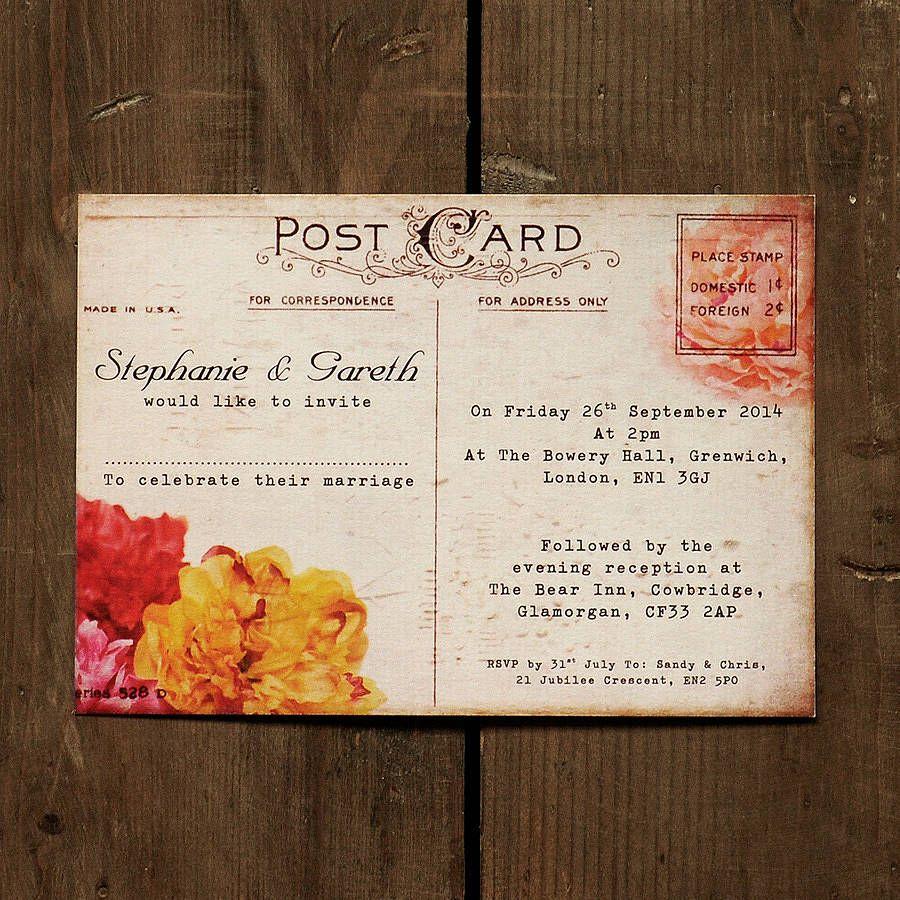 floral vintage postcard wedding invitation - Postcard Wedding Invitations