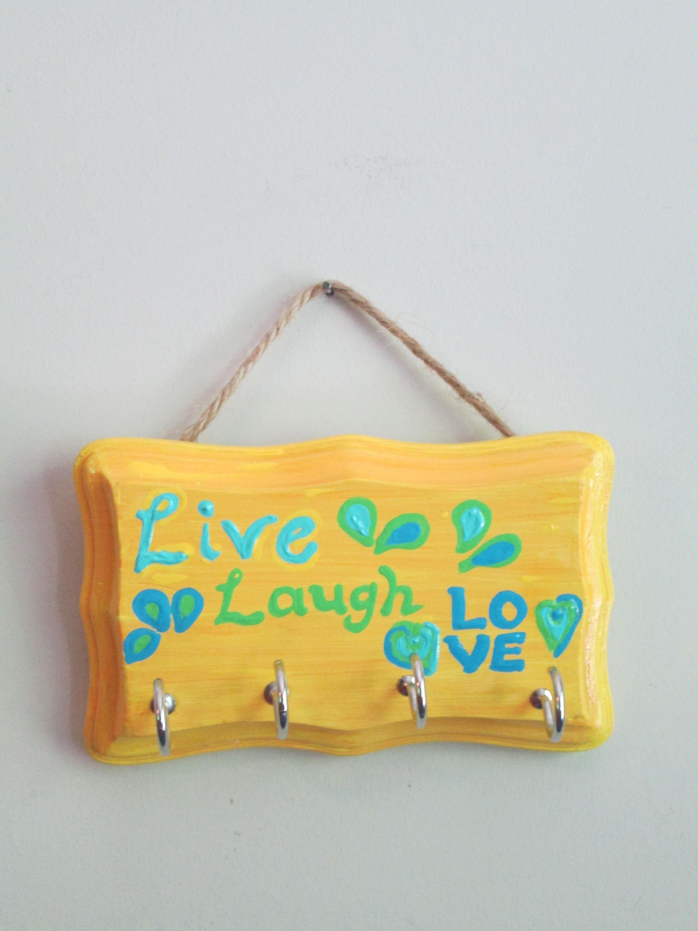 Live Laugh Love hand painted key holder for wall, wooden key hanger ...