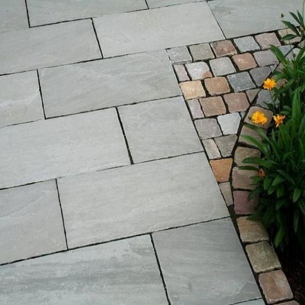 Elegant Kandla Grey Indian Sandstone Natural Calibrated Patio Paving Slabs Pack  18.5m2 22mm