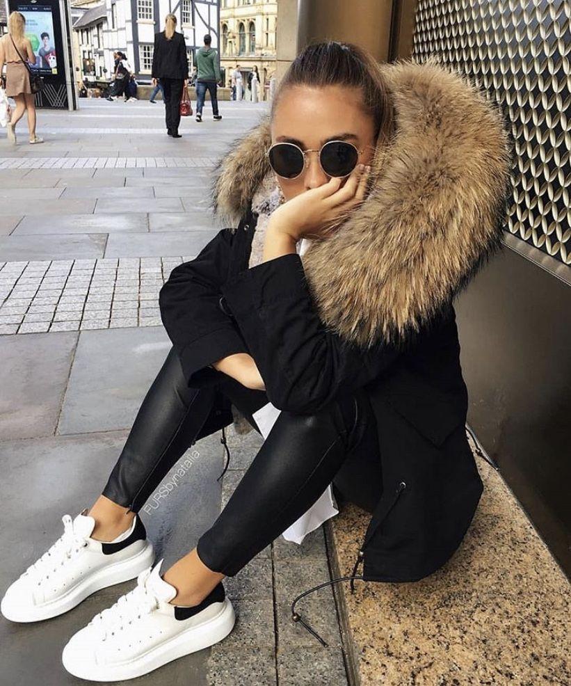 Fur jacket Alexander mcqueen sneakers