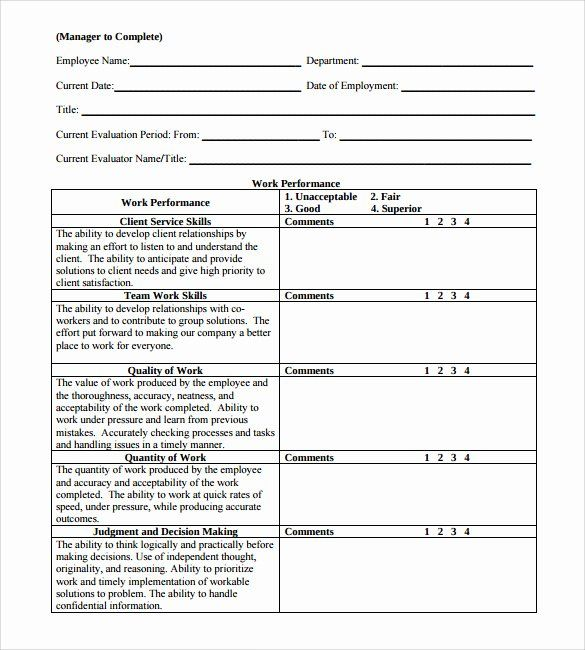 40 Employee Performance Evaluation Format