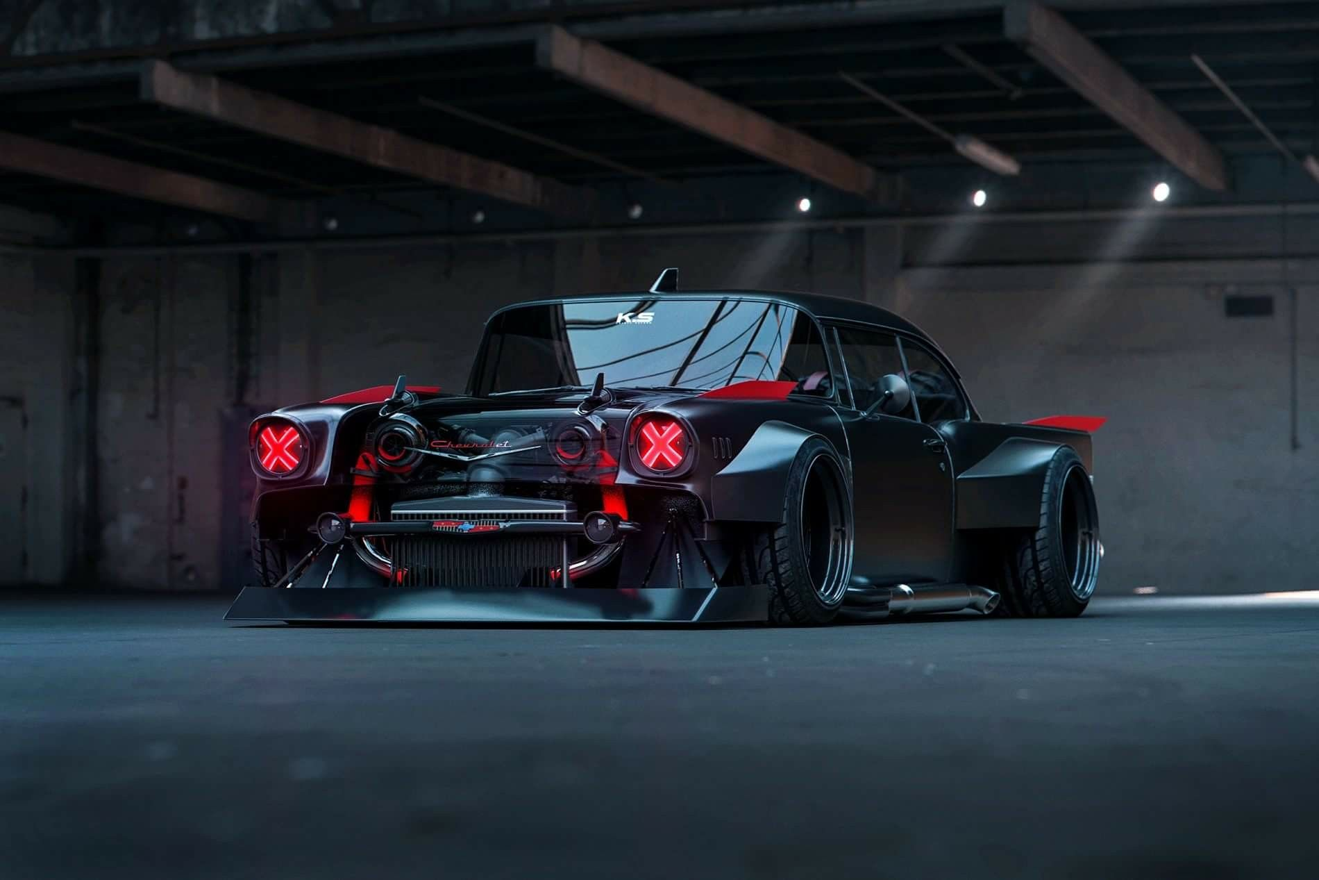 '57 Chevy Widebody | Futuristic cars, Custom muscle cars ...