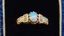 Stunning Antique Edwardian 18ct Gold Opal & Diamond Ring c1905; UK Ring Size 'N'
