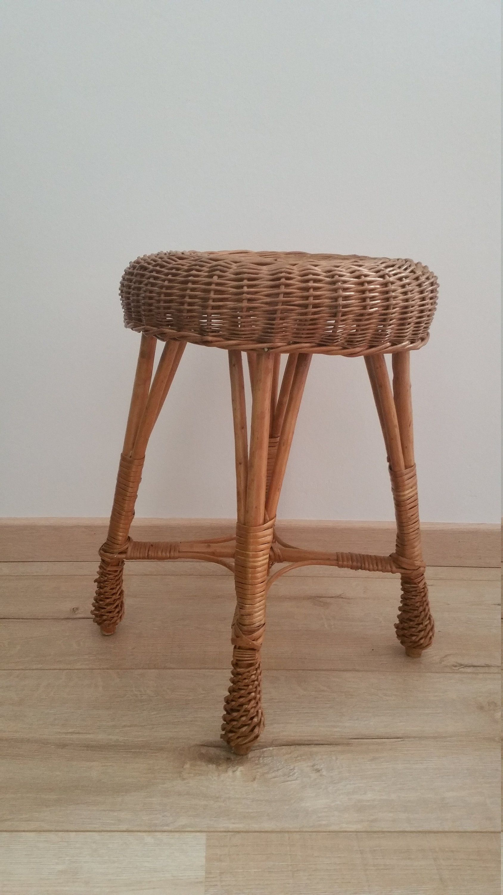 Rattan Hocker Vintage Rattan Hocker Boho Rund 1960 Wicker Chair Stool Mid