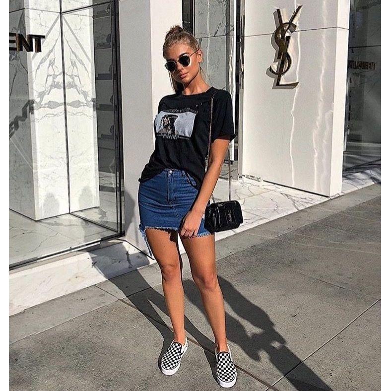 53e599fa4cd1ce Denim skirt, tshirt, vans slip on. | outfit ideas in 2019 | Denim ...