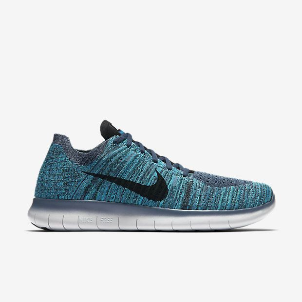 Nike Free RN Flyknit Mens Running Shoes 9.5 Ocean Fog Black Blue Glow  831069 404