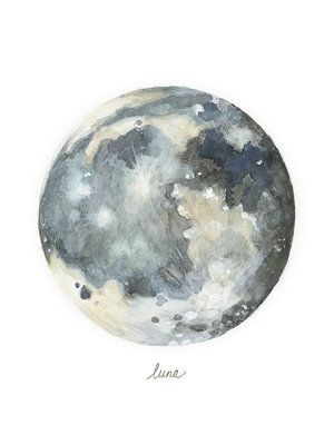 Luna moon watercolor painting. Archival quality prints. Lindsey Mutschler is a Seattle-based artist and illustrator specializing in scientific and botanical illustration. Prints of these moons are for sale at www.lindseymutschler.com