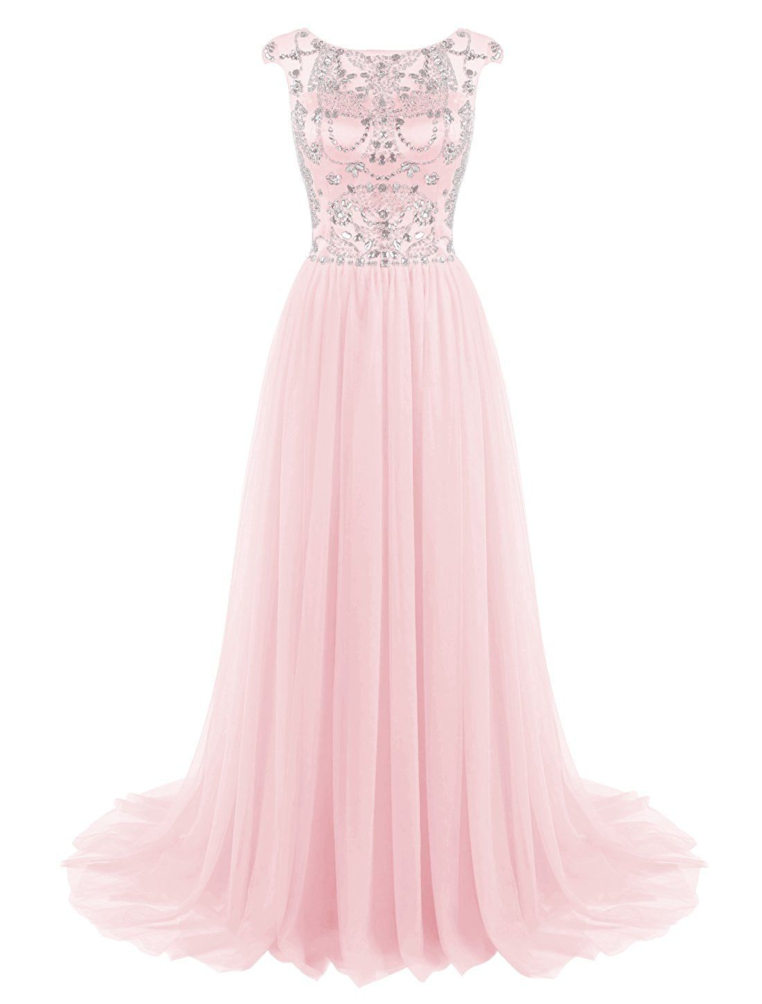 004bd5f5362 Tideclothes Long Beads Prom Dress Tulle Cap Sleeves Evening Dress at Amazon  Women s Clothing store