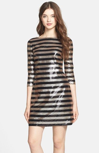 7ea773e8b83a Free shipping and returns on Vince Camuto Stripe Sequin Shift Dress  (Regular & Petite) at Nordstrom.com. A chic bateau neckline, three-quarter  sleeves and ...