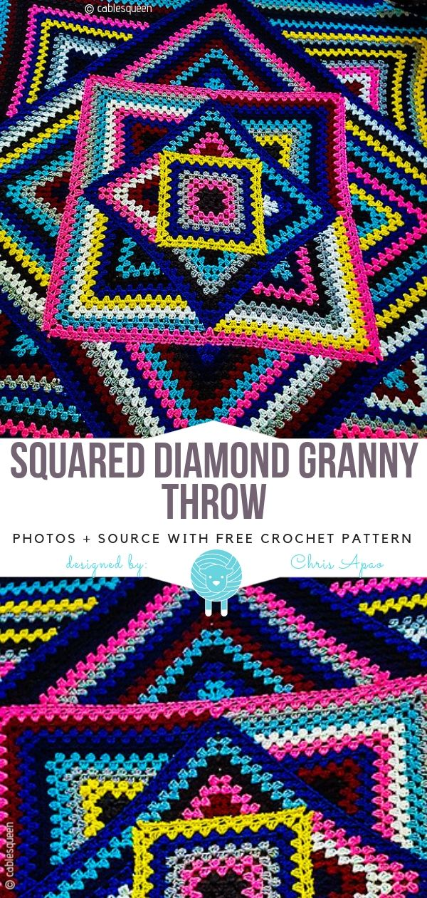 Pinned on Pinterest: Multicolor Granny Square Blankets Free Crochet Patterns thumbnail