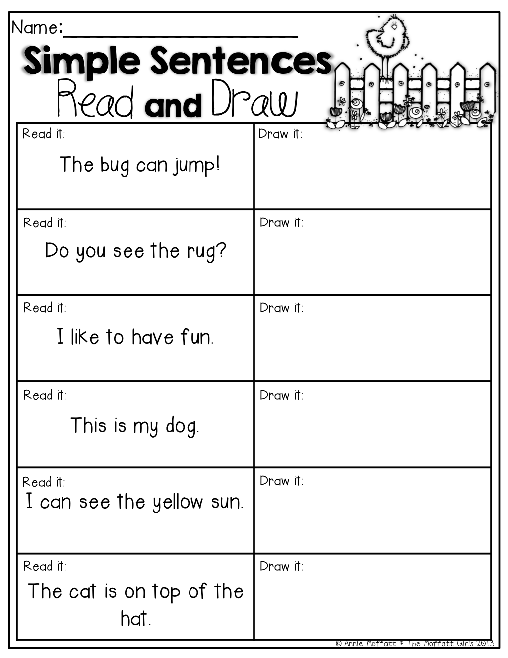 Simple Sentences Read And Draw Read The Simple Sentences And Draw A Picture To Match