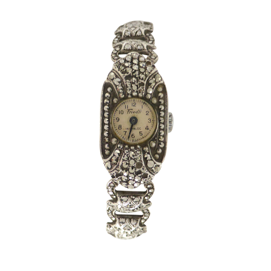 A stunning Art Deco timepiece in original shell case! This ladies wrist watch features a superb 15 jewels incabloc manual wind Swiss mechanism.