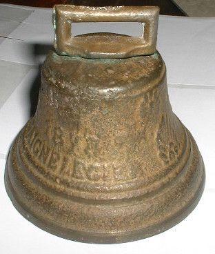 Antique Cast Brass Farm Cow Bell - 1878 - French - Chiantel Fondeur