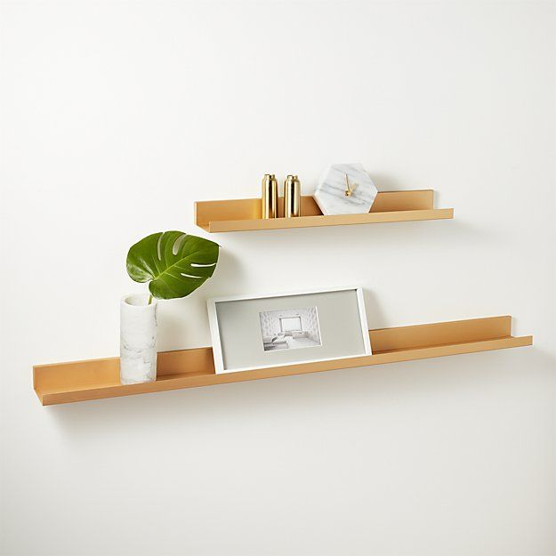 Metal Gold Wall Shelf 24 Cb2 Wall Shelves Modern Shelving Shelves