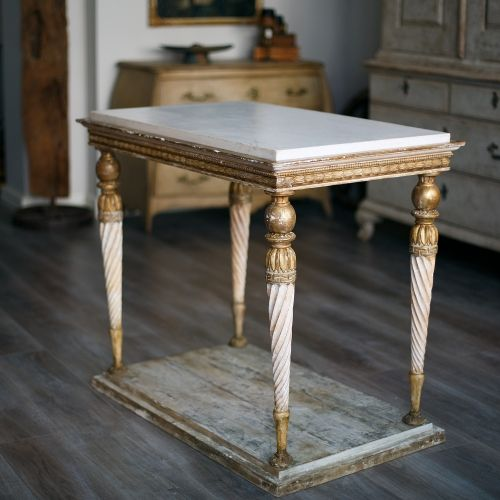 Swedish Gustavian Center Console Table