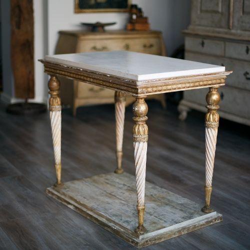Swedish Gustavian Center Console Table