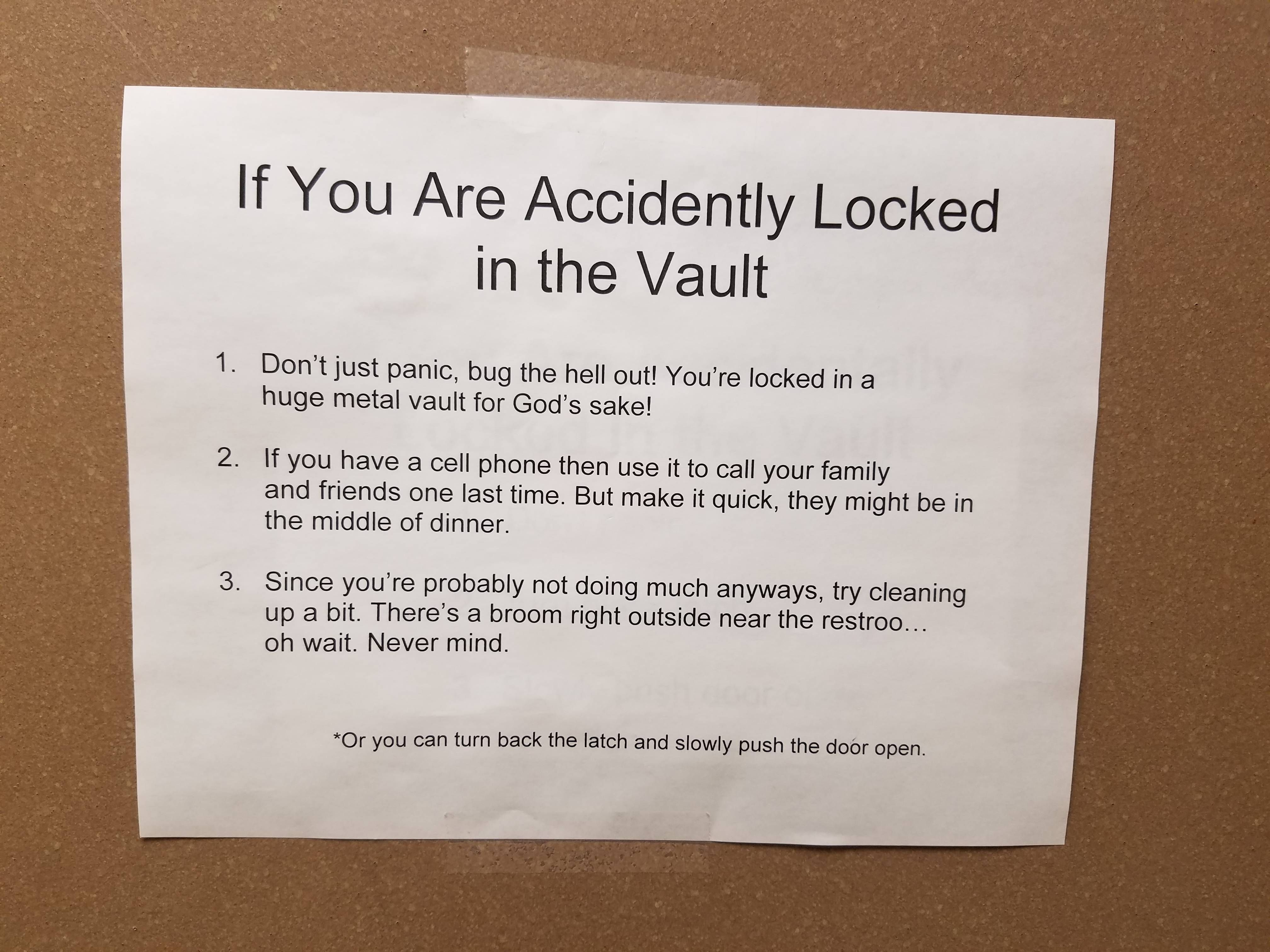 This Hangs On The Inside Of A Bank Vault Lolsnaps Banking Humor Best Funny Pictures Funny Pictures