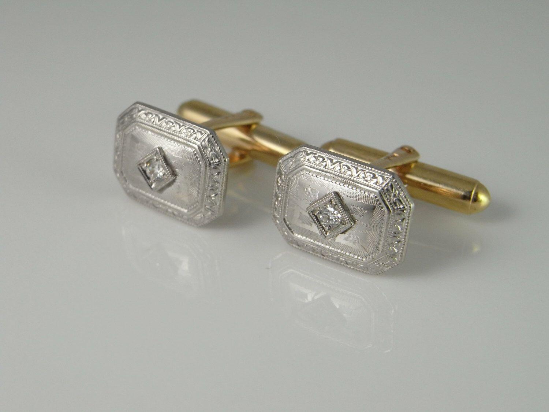 Gold cuff links art deco cufflinks engraved cufflinks antique