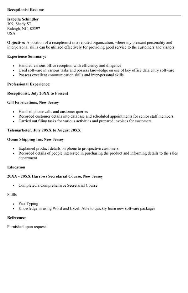 veterinary receptionist resume sle resume template 2018