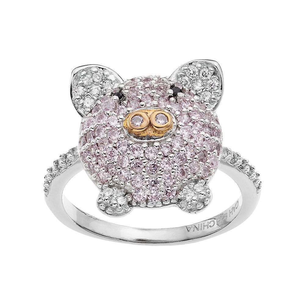 Sophie Miller Two Tone Sterling Silver Cubic Zirconia Pig Ring, Women's, Size: 8, Pink