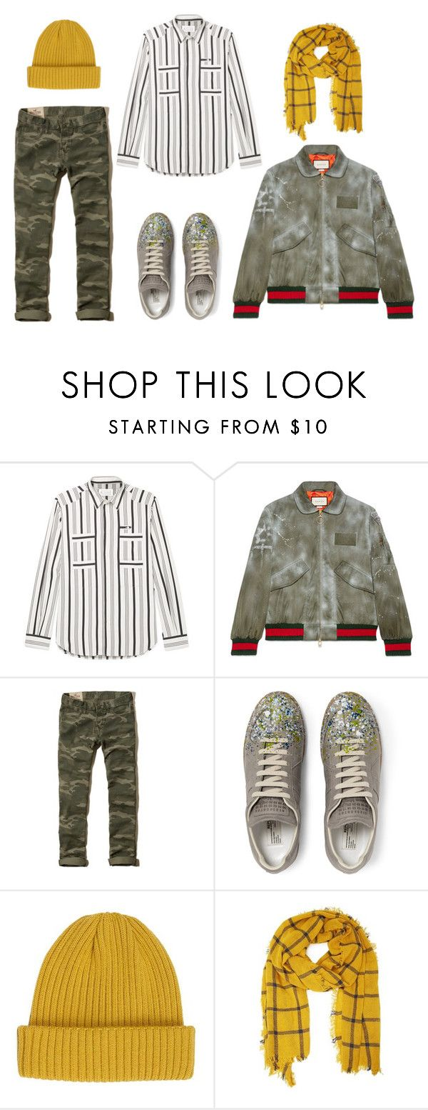 """""""Untitled #345"""" by dudejunk ❤ liked on Polyvore featuring Maison Margiela, Gucci, Hollister Co., River Island, 21 Men, men's fashion and menswear"""