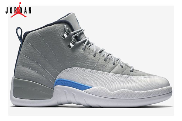 ebf99cd97e8 Grade School's Air Jordan 12 Basketball Shoes Grey/University Blue-White  130690-007