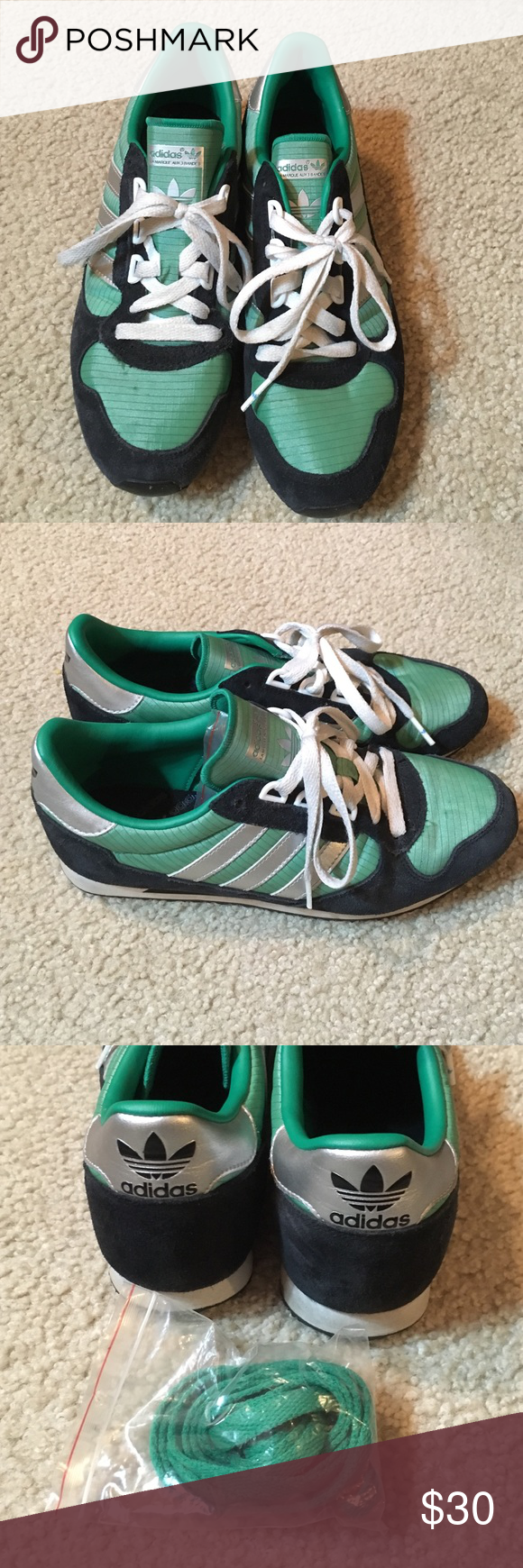 huge discount 3d54d 6ae01 Green adidas shoes 7 Kelly green, black and silver shoes size 7.5. Come  with white and green laces. Only worn twice. Adidas Shoes Athletic Shoes
