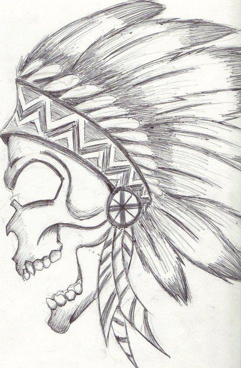 native american skull drawing | Cool drawings, Easy ...