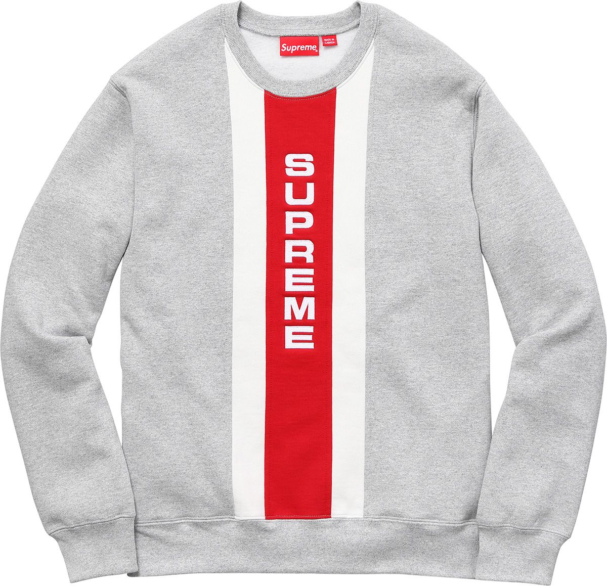 Supreme Vertical Logo Panel Crewneck Supreme Clothing Polo Design Hoodie Fashion [ 1159 x 1200 Pixel ]